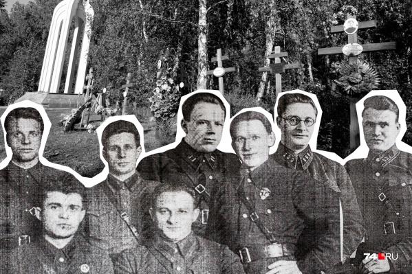 """Точное число захороненных на Золотой горе неизвестно — называют цифры от <nobr class=""""_"""">11–14</nobr> тысяч до полумиллиона человек. Судьбу арестантов решала тройка НКВД, а их коллеги (на фото) приводили решение в исполнение"""