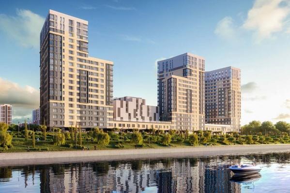 Три башни дома переменной этажности 13 и 19 уровней с положенной строгостью выстраиваются вдоль реки