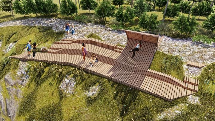 Лестницы, перила и терраса на вершине: смотрим эскизы обустройства Манской петли