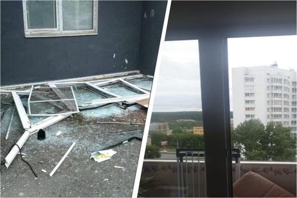 Балконная рама в квартире вылетела на улицу от взрывной волны