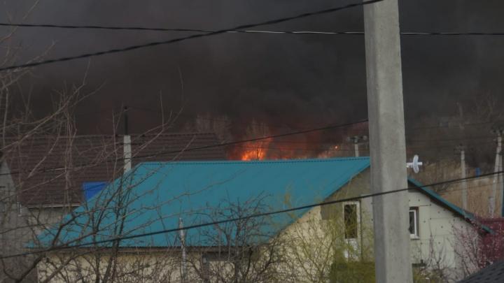 Огонь подошел к жилым домам в Городище