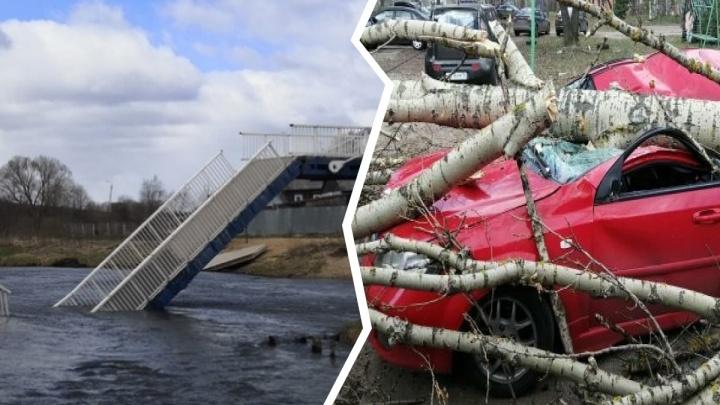 Сложился мост, раздавило иномарку: в Ярославской области устраняют последствия сильного ветра. Видео