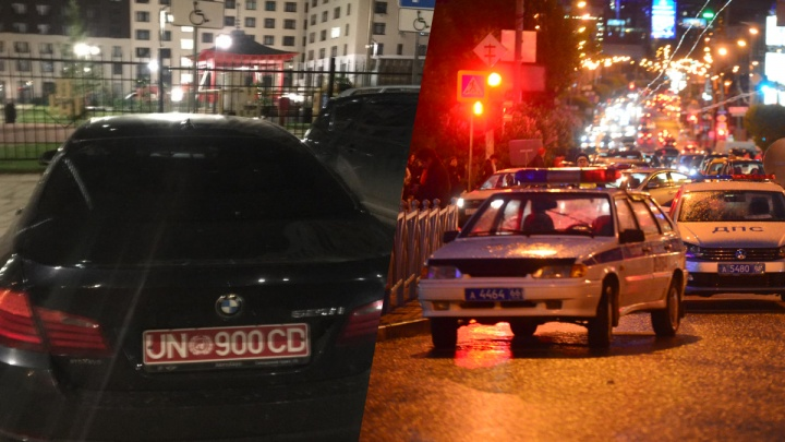 В Екатеринбурге у автохамки эвакуировали тонированный BMW с подозрительными дипномерами