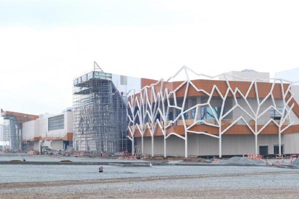 На фасаде нового ТРЦ разместили конструкции, похожие на деревья