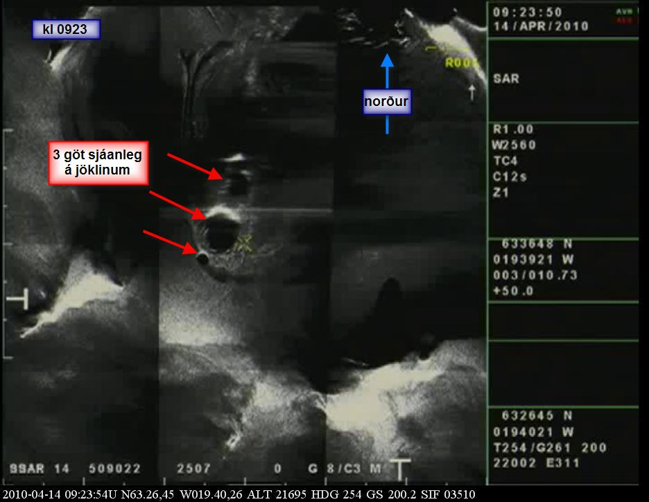 Наблюдение за извержением вулкана Эйяфьятлайокудль в Исландии в апреле 2010 года с борта самолета береговой охраны Исландии
