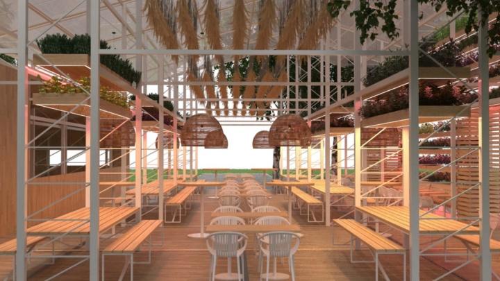 В парке Маяковского откроется летнее кафе с экотеплицей: показываем, каким оно будет