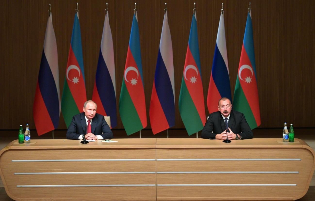 Путин и Алиев на Девятом российско-азербайджанском межрегиональном форуме, сентябрь 2018 года в Баку