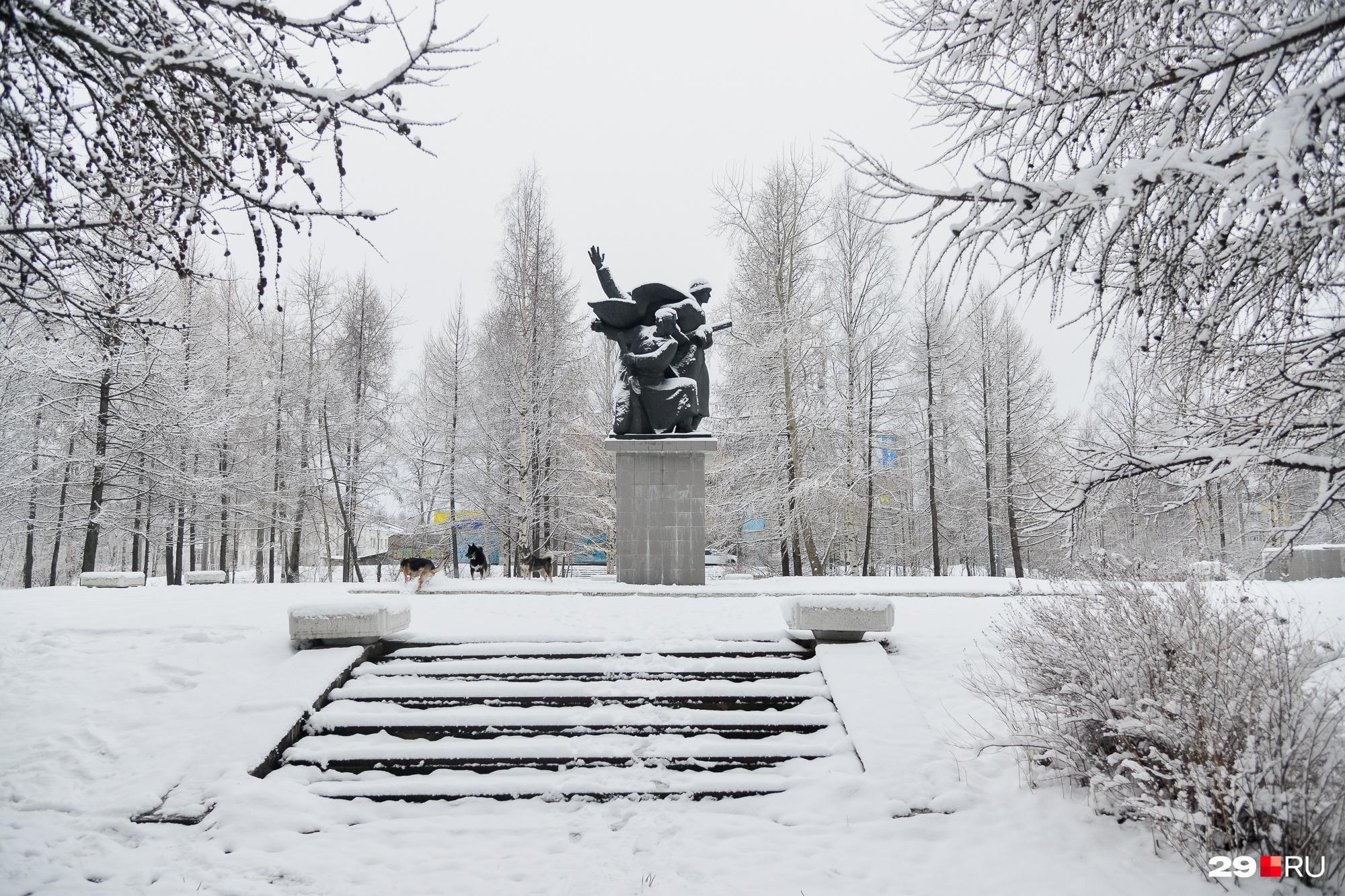 У мемориала мы встретили только резвящихся в снегу собак. А не помешало бы увидеть дворника с лопатой