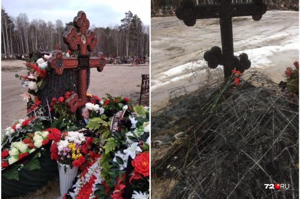 Остались только выгоревшие цветы и почерневший крест