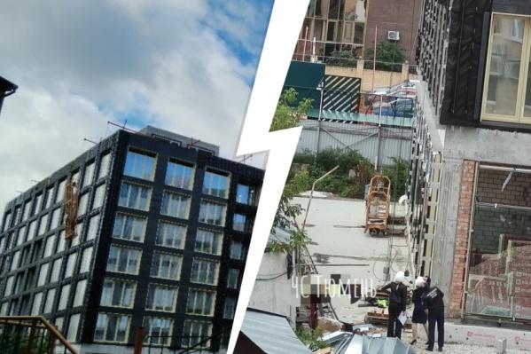 Рабочие выполняли работы на уровне пятого этажа на стройке элитного ЖК «Первомайская 1А» в центре Тюмени
