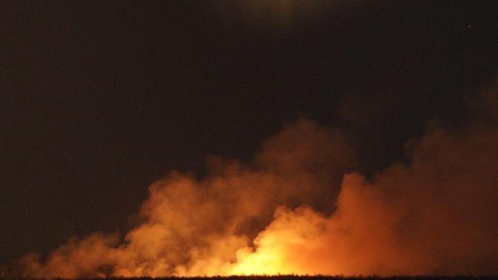 «Очень масштабный пожар»: ночью на Бору полыхали луга