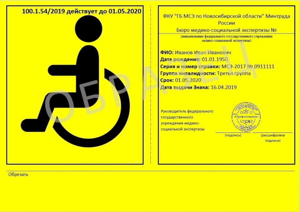 Образец именного знака«Инвалид»