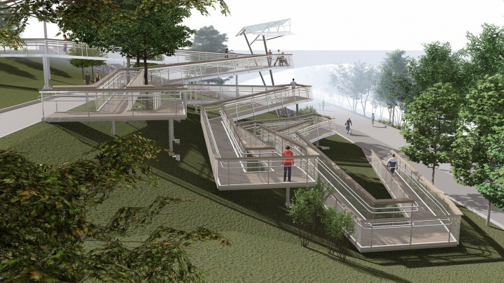 Амфитеатр и смотровые площадки: что появится у Коммунального моста на правом берегу
