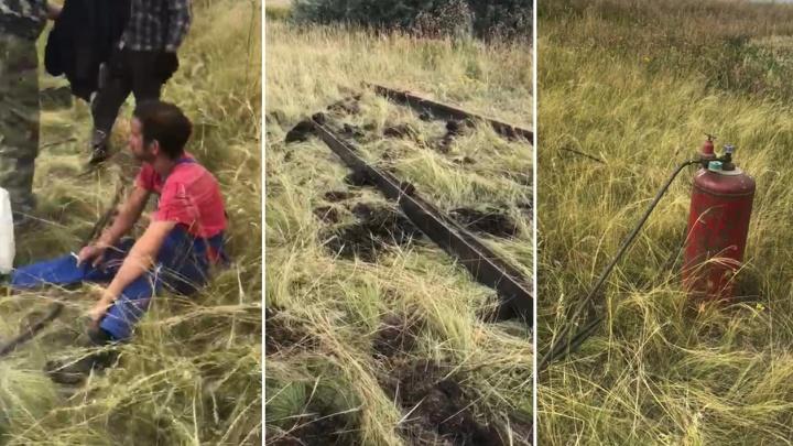 Тащил волоком по полю: в Самарской области мужчина похитил две тонны рельсов