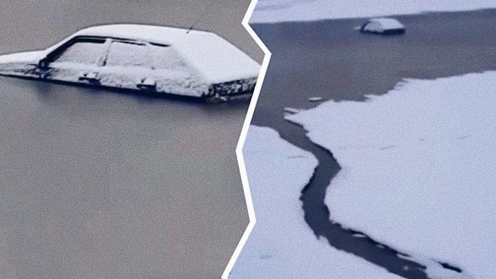 Попытка тюменца проехать по тонкому льду Иртыша провалилась. Вместе с машиной
