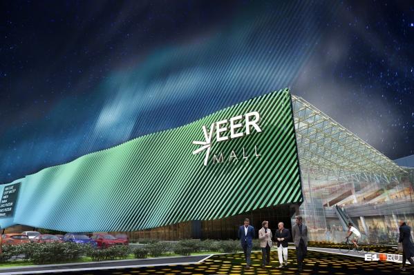 Длина фасада составляет 385 метров, ширина — 200 метров. Общая площадь Veer Mall — 167 тыс. кв. м