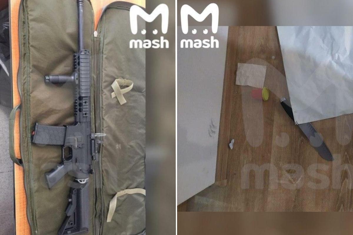Страйкбольная винтовка и нож (один), обнаруженные в квартире Таушанкова