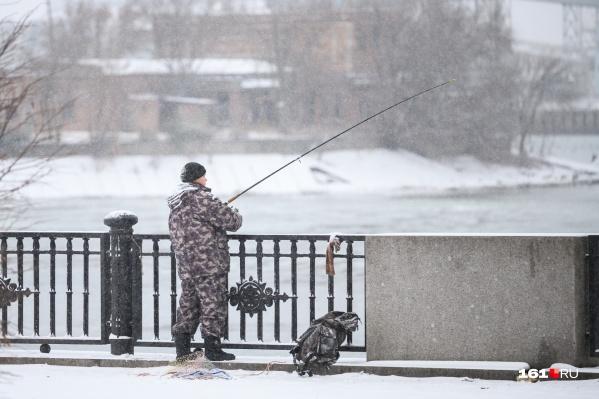 Ростовчане продолжают рыбачить, несмотря на снег