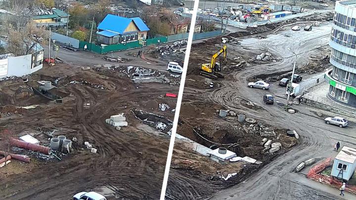 Найдите десять отличий: уфимец сделал фото ремонта на Комсомольской с разницей в неделю. Изменений нет