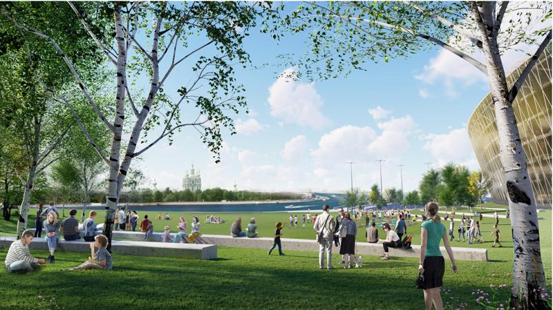 Парк со стороны Малоохтинской набережной