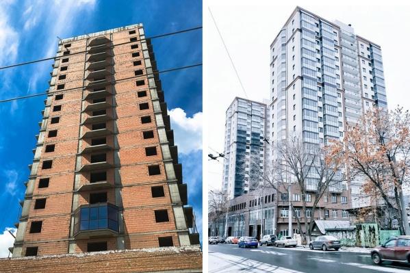 Слева вид дома в июне 2017 года, справа — достроенный объект
