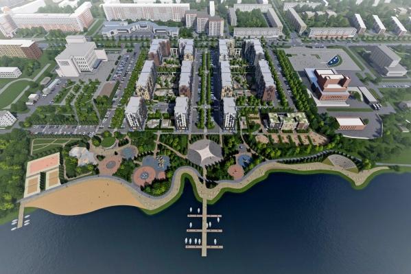 По планам в «Квартале 100» группа «Аквилон» должна построить общедоступный парк на берегу озера