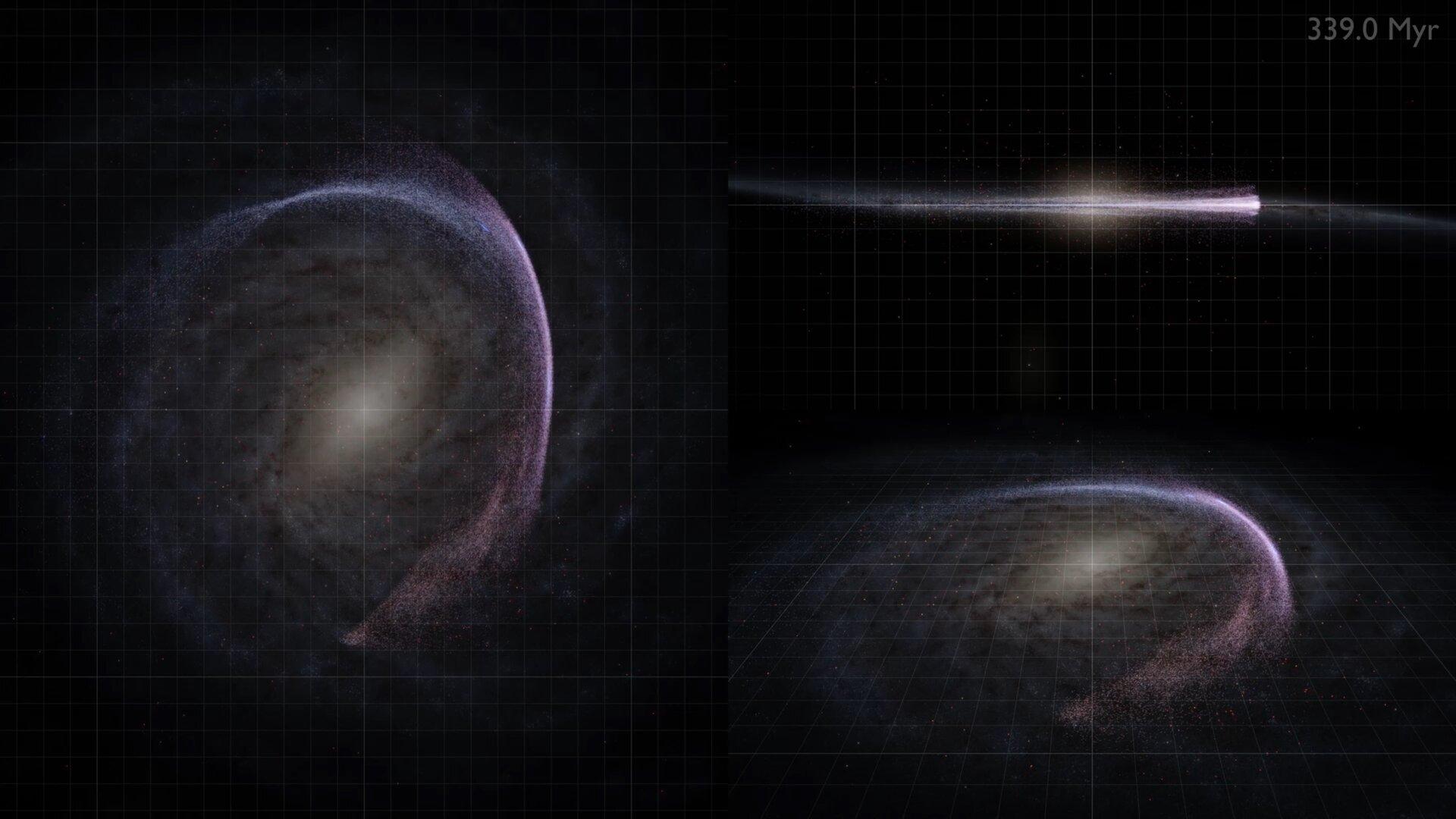 Кадр из анимации, показывающей орбиты ближайших звезд вокруг центра галактики
