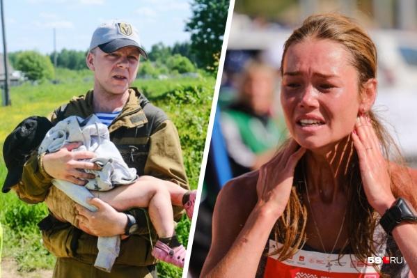 На первом фото волонтер выносит девочку, которая больше суток провела одна в лесу, на втором — победительница марафона сразу после финиша