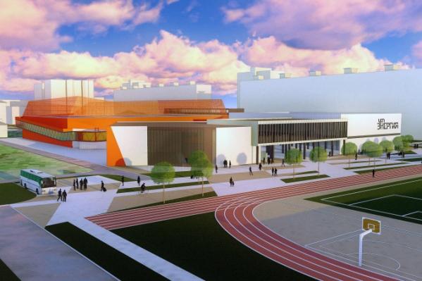 Часть здания будет выкрашена в яркий цвет, например оранжевый. Он ассоциируется с названием комплекса