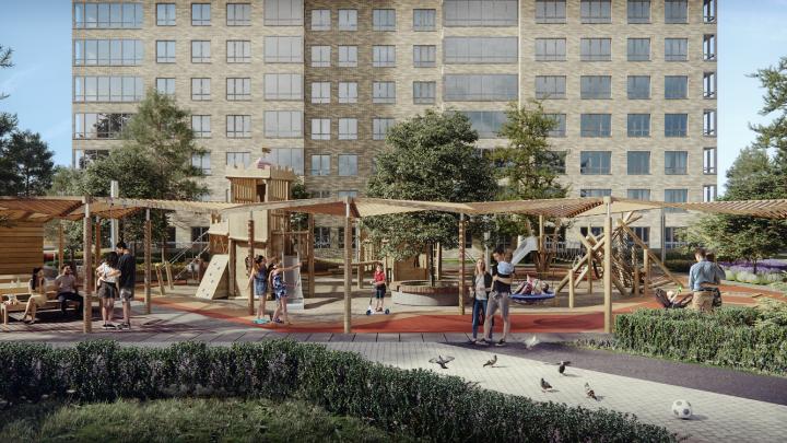 Этим летом рядом с Оперным достроят дом — для жителей сделают собственный выезд на Кирова и большой парк
