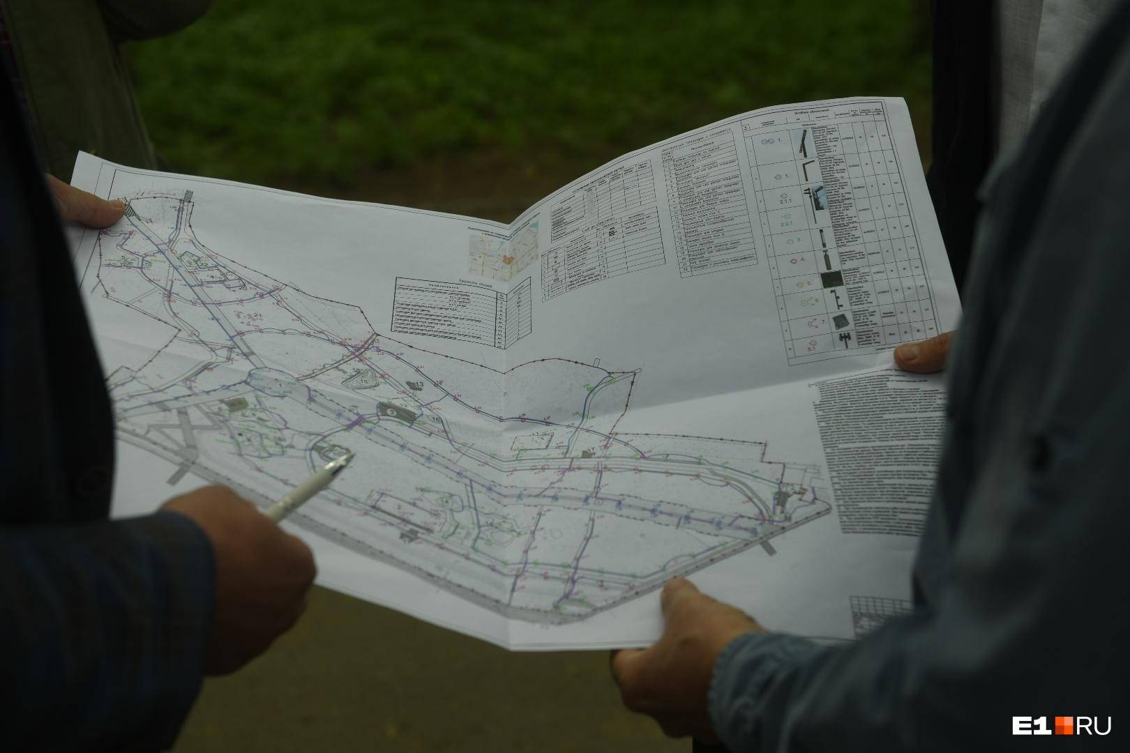 Схема реконструкции парка. Местных жителей многое в этой схеме не устраивает.