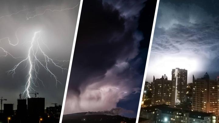 Настоящие узоры в небе: в Красноярске прошла самая живописная гроза этого лета