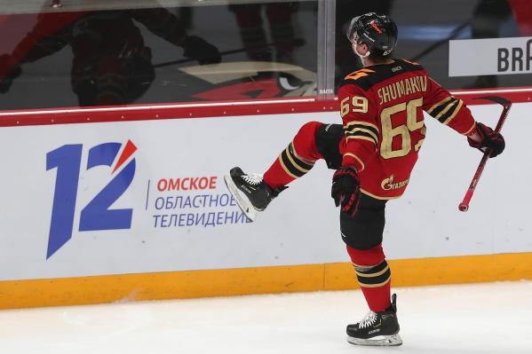 Сергей Шумаков радуется первой шайбе в сезоне