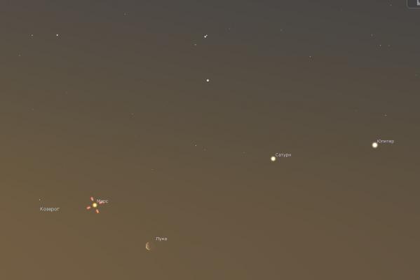 Так будут выглядеть Луна, Юпитер, Сатурн и Марс с 14 по 16 апреля