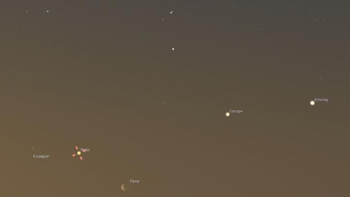Почти парад планет: в небе над Екатеринбургом можно будет увидеть Луну, Юпитер, Сатурн и Марс