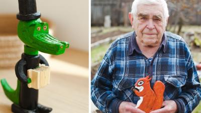 Пенсионер из Березовского мастерит деревянные игрушки в память обумершейжене
