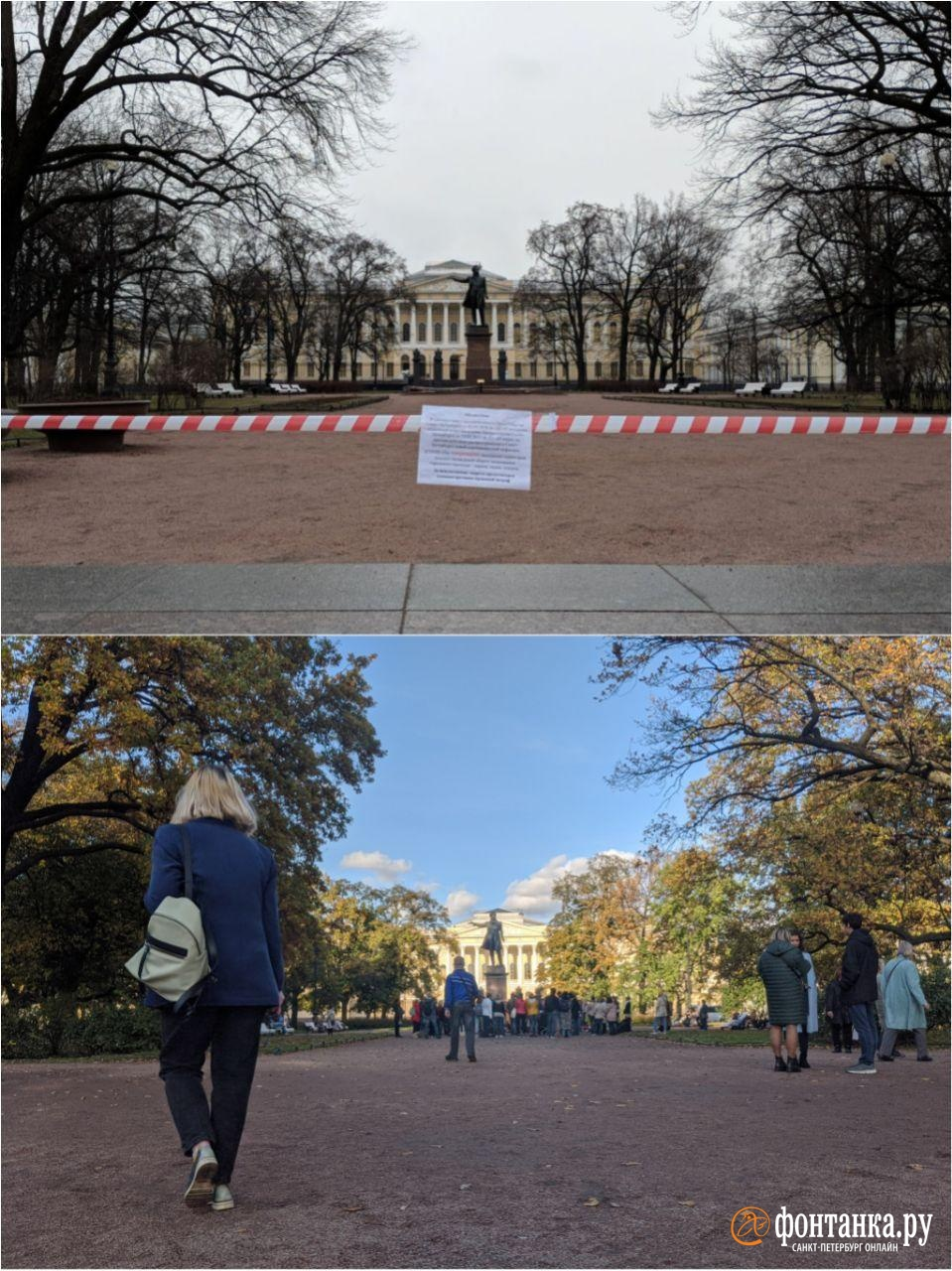 сверху: 6 апреля (+35 зараженных за сутки)&nbsp;<br>снизу: 10 октября (+500 зараженных за сутки)<br><br>автор фото Павел Каравашкин/«Фонтанка.ру»