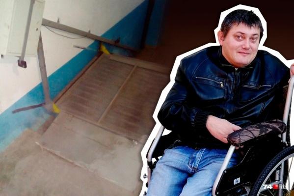 Владимир Климов долго не мог добиться ремонта подъёмника в подъезде, но теперь его проблема должна решиться
