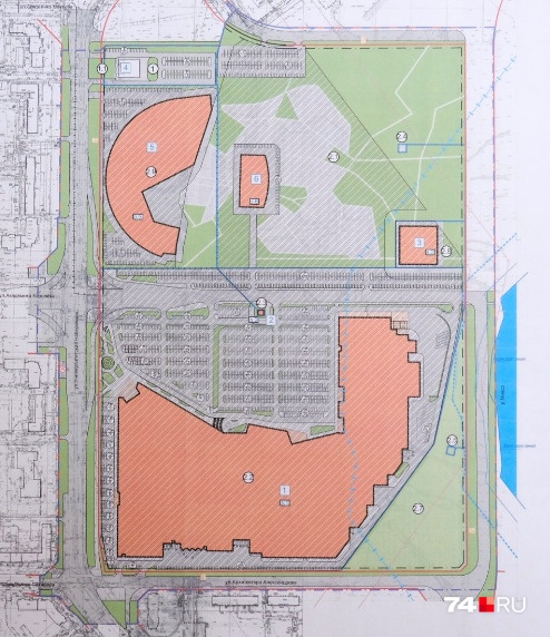 В первом проекте нарисован семиэтажный Центр экстремальных видов спорта — № 5 — и двухэтажный МФЦ — № 6