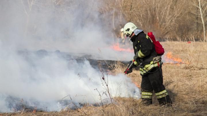 Чтобы потушить горящий остров, в Омске пожарных десантировали на катере