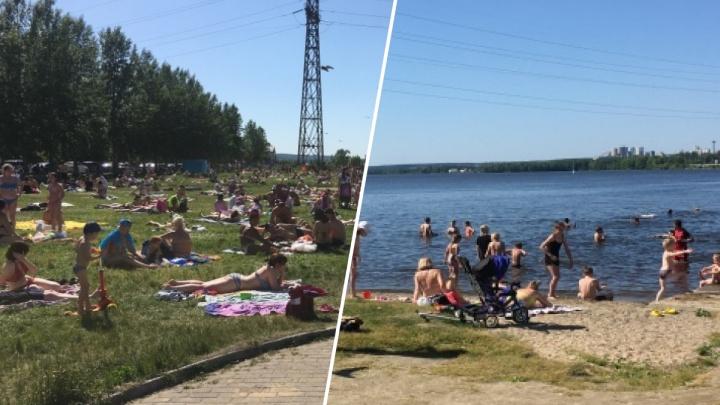 «Народу столько было, что присесть негде»: екатеринбуржцы рассказали, на каких пляжах провели выходные