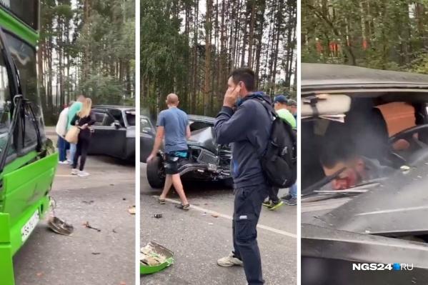 Столкнулись «Волга» и автобус № 2 в Студгородке