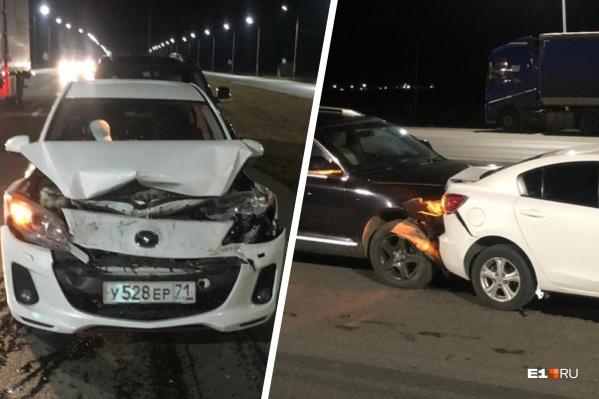 На Челябинском тракте пьяный водитель устроил ДТП с участием трех машин и убежал в лес