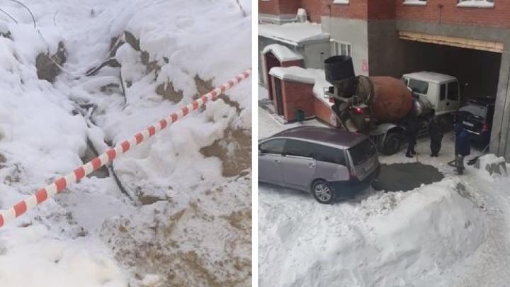 В Новосибирске рабочие уложили бетон в яму со снегом на Красина