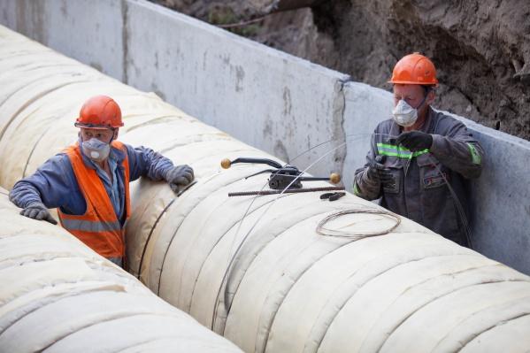 Строительно-монтажные работы на первом участке теплотрассы близятся к завершению