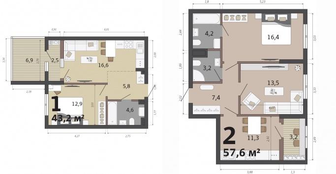 Можно выбрать планировку с кухней-гостиной, террасой, эркером или классическую