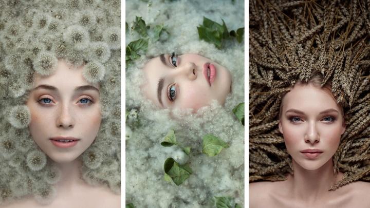 Сибирячка сделала 12 причудливых портретов девушек в цветах и растениях