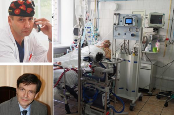 Слева вверху — заведующий реанимацией № 1 Виктор Ишутин, слева внизу — Кирилл Линев, заведующий кардиореанимацией. Справа — пациент на ЭКМО