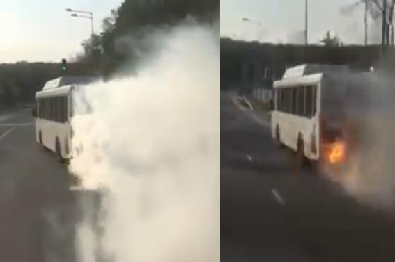 «У автобуса огонь из трубы идет»: очевидцы сняли на видео горящий ЛИАЗ на Волжском шоссе