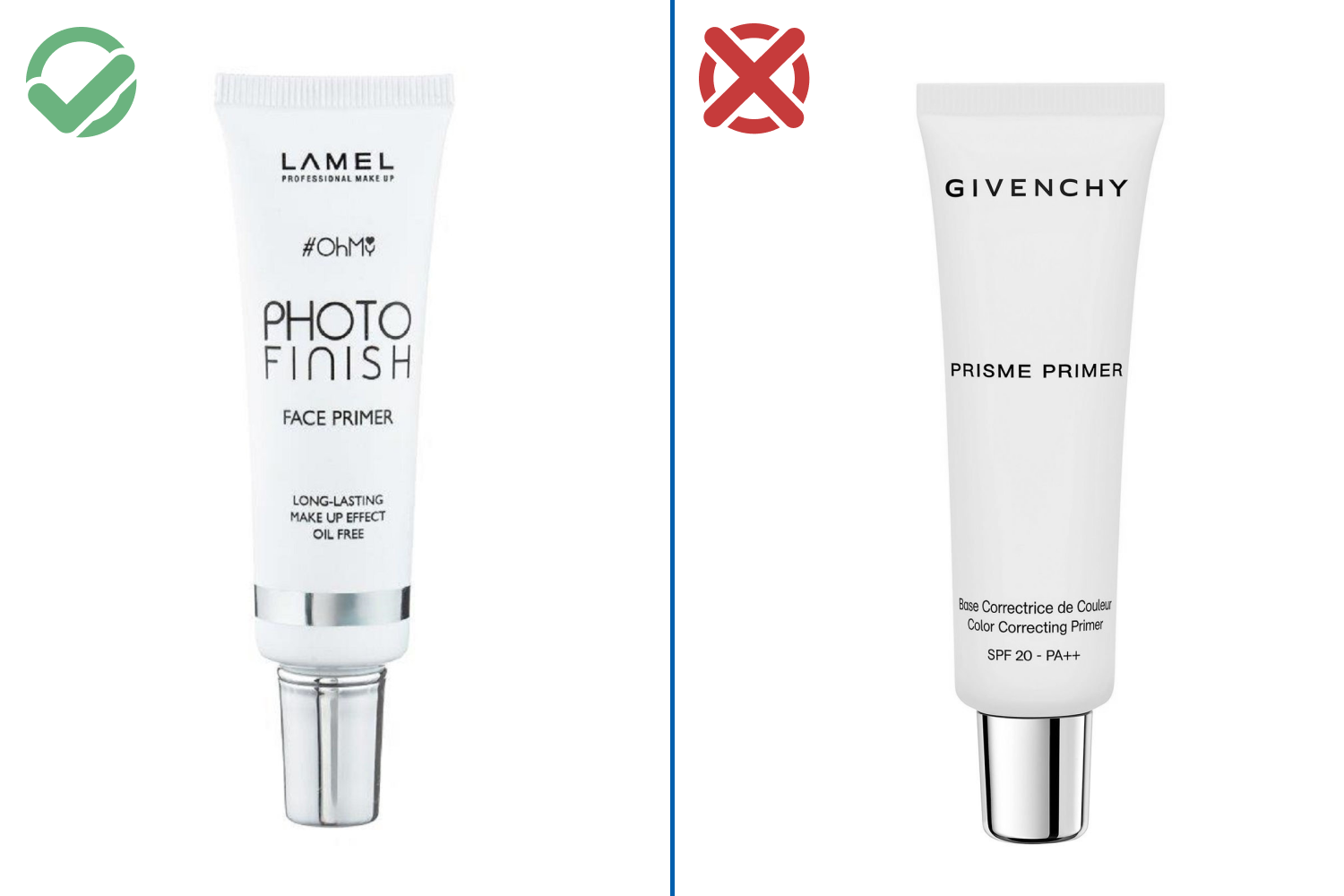 Праймер Lamel Photo Finish Face Primer — 200 рублей / Givenchy prisme primer — 1800 рублей